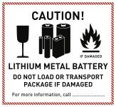 Gefahrzettel LITHIUM METAL BATTERY, Folie, 125x115 mm