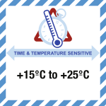 Time & Temperature Sensitive m. Text nach Angabe,Folie,100x100 mm,1000 St./Rolle
