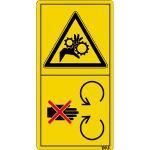 Schutzeinrichtung bei laufendem Motor ... ISO 11684, Folie, 6,8x3,5 cm