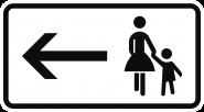 VZ1000-12, Fußgänger Gehweg gegenüber benutzen, linksw., Alu, RA1, 420x231 mm