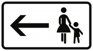 VZ1000-12, Fußgänger Gehweg gegenüber benutzen, linksw., Alu, RA2, 420x231 mm