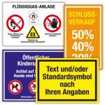 Hinweisschild mit Text, Symbol und/oder Logo nach Angabe, Folie, bis 100x50 mm