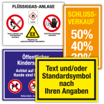 Hinweisschild mit Text, Symbol und/oder Logo nach Angabe, Folie, bis 200x100 mm