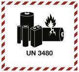 Gefahrzettel LITHIUM ION BATTERY UN 3480, Folie, 125x115 mm