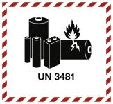 Gefahrzettel LITHIUM ION BATTERY UN 3481, Folie, 125x115 mm