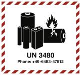 Gefahrz. Lithiumbatterien mit UN-u.Tel.-Nr., Folie, 125x115 mm, 1000 Stück/Rolle
