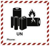 Gefahrzettel für Lithium-Zellen oder -Batterien, blanko, Folie, 125x115 mm