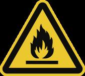 Warnung vor feuergefährlichen Stoffen ISO 7010, Alu, 400 mm SL