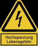 Hochspannung Lebensgefahr, Kombischild, Alu, 100x122 mm