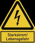 Starkstrom! Lebensgefahr, Kombischild, Folie, 100x122 mm