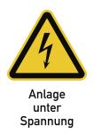 Anlage unter Spannung, Kombischild, Folie, 131x185 mm