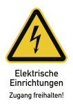 Elektrische Einrichtungen Zugang freihalten!, Kombischild,Folie, 131x185 mm