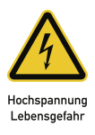 Hochspannung Lebensgefahr, Kombischild, Folie, 131x185 mm