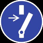 Vor Wartung oder Reparatur freischalten ISO 7010, Folie, Ø 50 mm, 10 Stück/Bogen