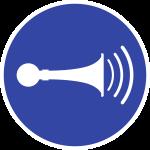 Akustisches Signal geben ISO 7010, Folie, Ø 100 mm