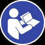 Anleitung beachten ISO 7010, Folie, Ø 20 mm, 10 Stück/Bogen