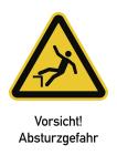 Vorsicht! Absturzgefahr ISO 7010, Kombischild, Folie, 131x185 mm