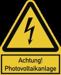 Achtung! Photovoltaikanlage ISO 7010, Kombischild, Alu, 200x244 mm
