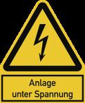 Anlage unter Spannung ISO 7010, Kombischild, Alu, 200x244 mm