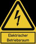 Elektrischer Betriebsraum ISO 7010, Kombischild, Alu, 200x244 mm