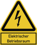 Elektrischer Betriebsraum ISO 7010, Kombischild, Folie, 200x244 mm