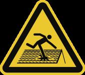 Warnung vor nicht durchtrittsicherem Dach ISO 7010, Alu, 200 mm SL