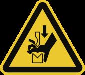 Warnung vor Quetschgefahr der Hand zwischen..., Folie, 50 mm SL, 6 Stück/Bogen