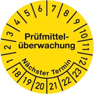 Prüfplakette Prüfmittelüberwachung 2018 - 2023, Dokumentenfolie, Ø 3 cm