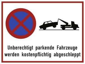 Unberechtigt parkende Fahrzeuge ..., Alu, 400x300 mm