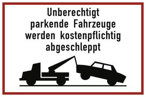 Unberechtigt parkende Fahrzeuge werden ..., Alu, reflektierend RA1, 600x400 mm