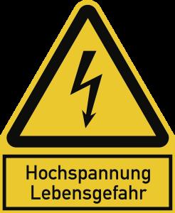 Hochspannung Lebensgefahr, Kombischild, Kunststoff, 200x244 mm