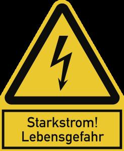 Starkstrom! Lebensgefahr, Kombischild, Kunststoff, 200x244 mm