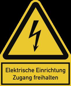 Elektrische Einrichtung Zugang freihalten, Kombischild, Folie, 200x244 mm