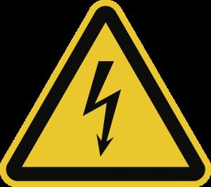 Warnung vor elektrischer Spannung ISO 7010, Alu, 200 mm SL