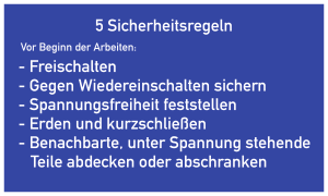 5 Sicherheitsregeln, Textschild, Folie, 200x120 mm