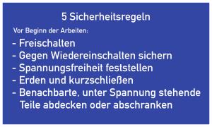 5 Sicherheitsregeln, Textschild, Kunststoff, 200x120 mm