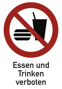 Essen und Trinken verboten ISO 7010, Kombischild, Folie, 131x185 mm