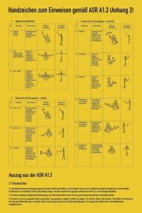 Handzeichen zum Einweisen gemäß ASR A1.3, Kunststoff, 400x600 mm