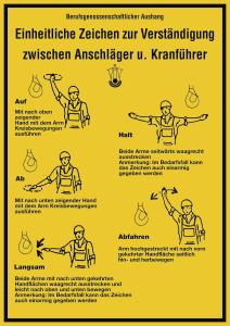 Einheitliche Zeichen zur Verständigung zw. Anschläger..., Kunststoff, 297x420 mm