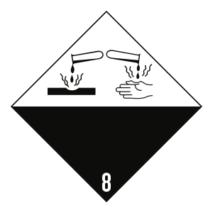 Gefahrzettel Klasse 8, Folie, 100x100 mm, 1000 Stück/Rolle