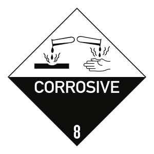 Gefahrzettel Klasse 8 Text CORROSIVE, Folie, 250x250 mm