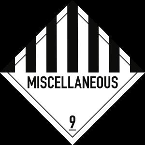 Gefahrzettel Klasse 9 Text MISCELLANEOUS, Papier, 100x100 mm, 1000 Stück/Rolle