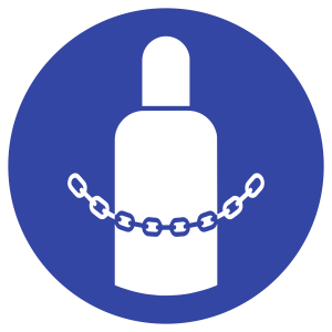 Gasflaschen sichern ISO 7010, Kunststoff, Ø 200 mm