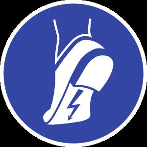 Antistatisches Schuhwerk benutzen ISO 7010, Folie, Ø 200 mm