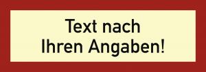 Brandschutzzeichen - Text nach Ihren Angaben, Folie, nachl., 160-mcd, 210x74 mm