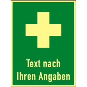 Hinweis auf Erste Hilfe-Text nach Angabe, Kunststoff, nachl.,160-mcd, 300x400 mm