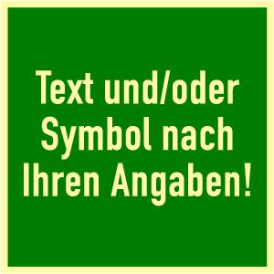 Rettungszeichen-Text u./o. Symbol nach Angabe,Kunstst.,nachl.,160-mcd, 100x100mm