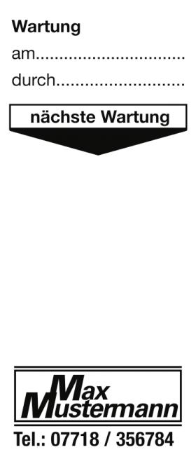 Grundplakette mit Text/Logo schwarz nach Wunsch, Folie, 30x60 mm, 250 Stk./Rolle