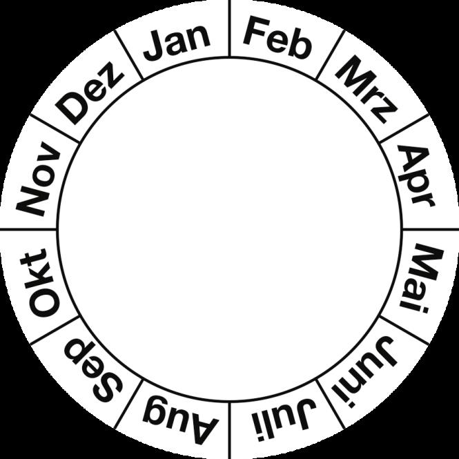 Grundplakette Januar - Dezember, Folie, Ø 40 mm, 10 Stück/Bogen