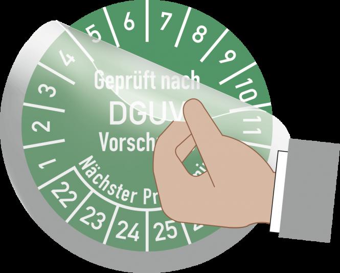 Transparentes Schutzlaminat für Prüfplaketten, Folie, Ø 20 mm, 10 Stück/Bogen